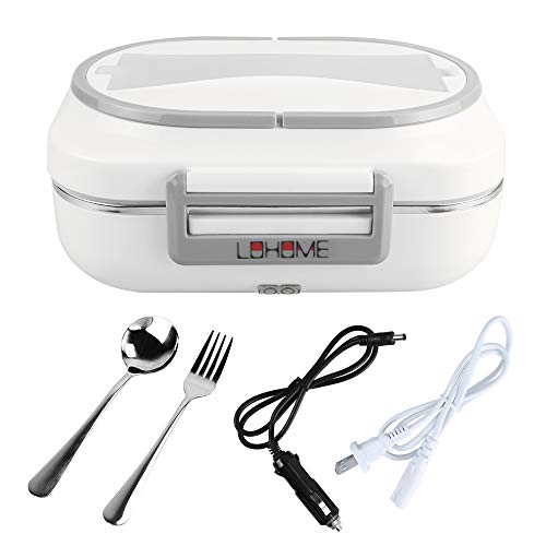 LOHOME Electric Heating Lunch Box Car Home Office Use Food Warmer Portable Bento Meal Heater with Stainless Steel Container 110V and 12V Dual Use (Grey) (Lunch Boxes Warm)