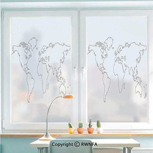Window Door Sticker Glass Film,Simplistic Design World Map Outline with Thin Black Line Drawing Abstract Continents Decorative Anti UV Heat Control Privacy Kitchen Curtains for Glass,22.8 x 35.4 inch