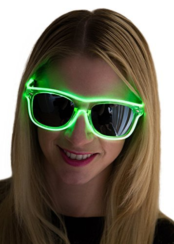 Neon Nightlife Slightly Tinted Wayfarer 55mm Light Up Glasses (Green, 55) (Clown Outfit For Kids)