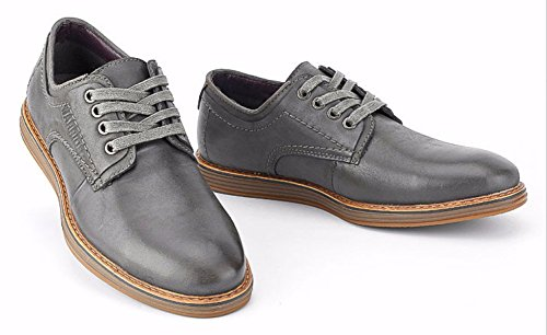 Al De Hombres Hombres Cuero Zapatos OEMPD Grey Simples Resistentes De Desgaste Zapatos De Casuales Inferiores Bajos qTOF0