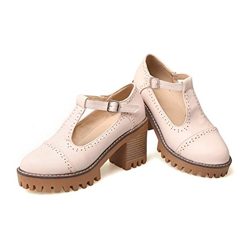 Shoes Heel Pumps TAOFFEN Office Women Buckle Strap T Pink Classical Bar Block Fxtgzvwx