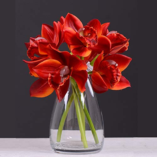 Rinlong Real Touch Silk Orchids Red Orchid Artificial Flowers Cymbidium Stem for Table Centerpiece Home Kitchen Party Wedding Bouquet Decor (Flame Red Cymbidium, 3pcs) (Kitchen Table Large Centerpieces)