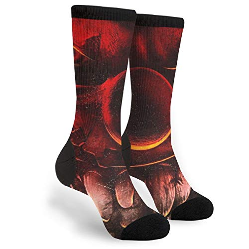 Scary Halloween Ghastly Smiling Clown Themed Clothing Party Clothes Dresses Apparel Ankle Female Ladies Women Girl Teen Kid Youth Quarter Dress Mid Calf Knee Crew Socks Calf Knit Hosiery ()