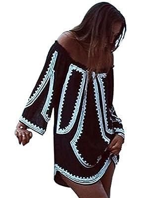 Yonala Women's Pattern Printed Off Shoulder Loose Blouse Short Dress