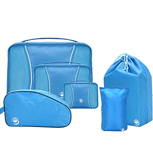6 Set Packing Cubes, Travel Luggage Packing Organizers with Shoes Bag & Laundry Bag (Blue)