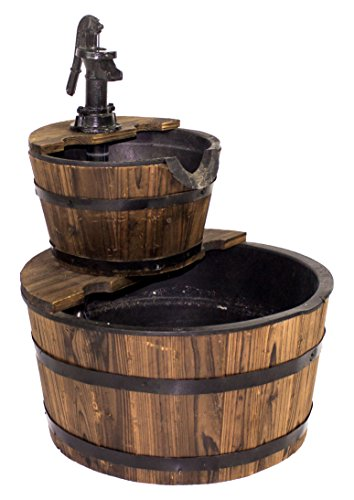 Backyard Expressions 912710 Water Barrel - Constructed from real wood The resin inserts will allow barrel to withstand many outside elements 22.83 inches in Height - patio, fountains, outdoor-decor - 41IX2vQ1o9L -
