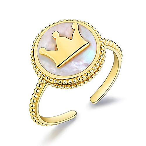 VANA JEWELRY Gold Plated Crown Ring 925 Sterling Silver Yellow Gold Plated Shell Princess Tiara Medallion Crown Ring Adjustable Fashion Women Girls Gift for Her Anniversary (Symbol -
