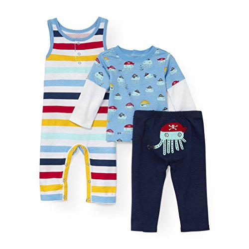 The Children's Place Baby Boys Pirate Jellyfish Faux-Layer Top Romper and Pants 3-Piece Playwear Set Seaside Sail 3-6MONTHS