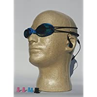 Grey Multi Sport Audio Goggles With Waterproof Headphones,Bungee Cord Goggle Straps For Waterproof iPod Shuffle, MP3 player or Radio (Electronic Devices Sold Separately)