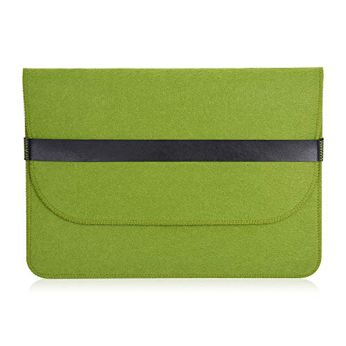 Felt Laptop Sleeve Case Green 13 Inch 14 Inch Flannel-Lined with Pouch for MacBook 13