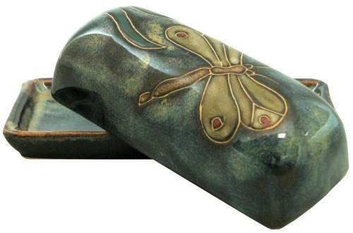 Mara Stoneware Collectible Butter Dish - Mexican Pottery - Blue with Dragonfly Design by Mara Stoneware by Mara Stoneware