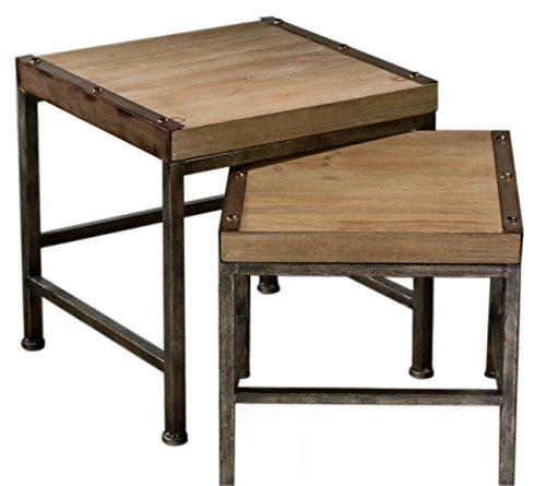 Red Co. Industrial Chic Wooden Side Table - Set of 2 (Nesting Iron Square Tables)