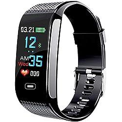 Verna Smart Wristband Watch Fitness Tracker Blood Pressure Heart Rate Monitor IP67 Waterproof Medication Reminder Fitness Tracker Pedometer Sport Bracelet (Black) ...