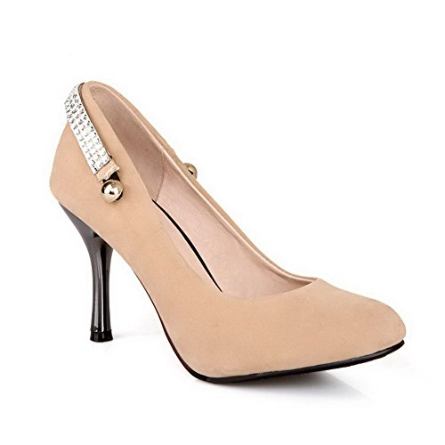 Shoes on Pointed Suede Heels Pumps Imitated Women's Toe High Closed Pull apricot WeenFashion Solid vFq4RwBn7