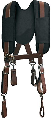 Genuine Leather Tool Belt Suspenders 9700, X-Large | Comfortable, Padded Shoulder Straps | Contoured Yoke for Back Support | Heavy Duty Commercial Grade for Even Load Distribution in Construction Work by Leather Gold