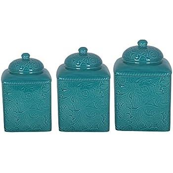 Amazon Com Savannah Turquoise Canister Set Home Amp Kitchen