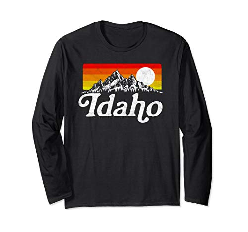 Retro Idaho Outdoor Mountains and Sun Long Sleeve T-Shirt