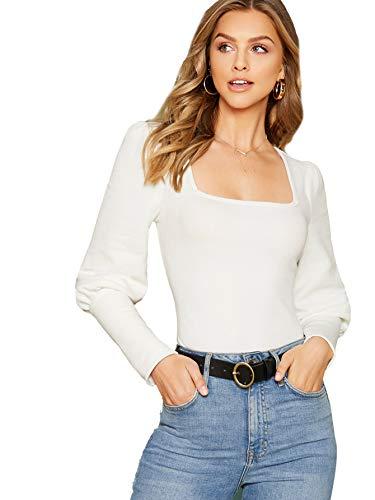Milumia Women's Pullover Square Neck Lantern Sleeve Solid Top White M