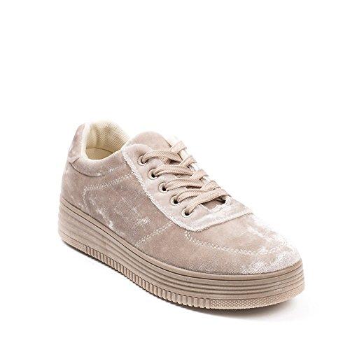 Ideal Shoes Baskets Basses Effet Velours Jida Beige