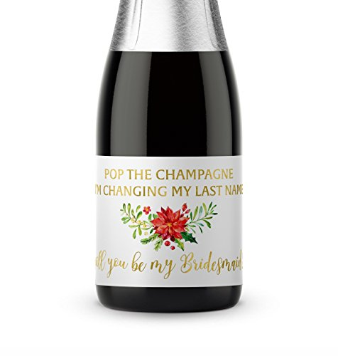 Christmas Bridesmaid Mini Champagne Labels ● SET of 8 ● Christmas Bridesmaid Proposal, Christmas Wedding Wine Labels, Christmas Bridesmaid Ask, Happy Holidays - Festive Bridal Party Ask, XMAS10-ASK-8 (Mini Le Wine)
