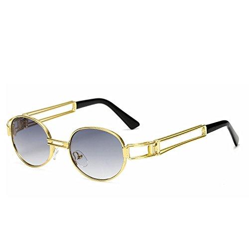Sol Color Classic Moda Gafas Frame Brown Retro de Sakuldes de Gafas Lens de Frame Gold Gold Metal Marco Blue Lens Steam Sol Punk Redondo Punk la WXTaq