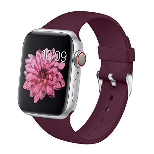 - YOUKEX Sport Band Compatible with Apple Watch 40mm 38mm 44mm 42mm Soft Silicone for Series 1 2 3 4 Maroon