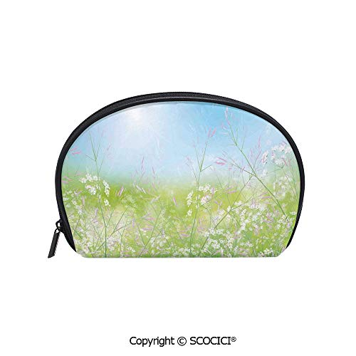 SCOCICI Printed Small Size Storage Makeup Bag Floral Field Meadow Fresh Grass Weeds Plant Herbs on Earth with Vivid Sky Graphic for Women Girl Ladies