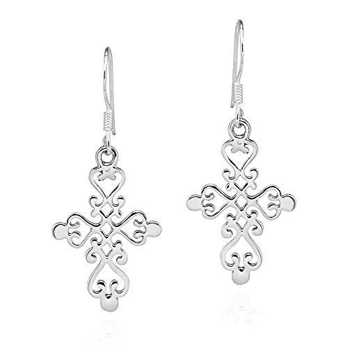 - Elegantly Beautiful Filigree Swirl Cross .925 Sterling Silver Dangle Earrings