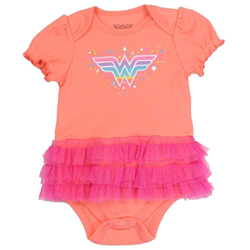 Wonder Woman Baby Girl Tutu Onesie Costume (Small 0-3 Months)