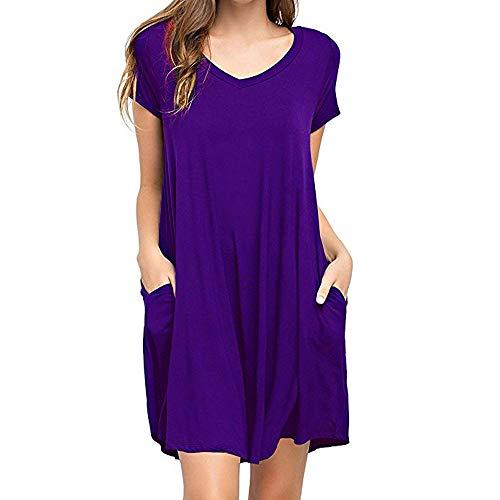 Londony✚‿✚ Women's Short Sleeve Swing Tunic Casual Pockets Loose T Shirt Dress Purple