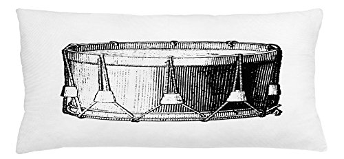 Lunarable Snare Drum Throw Pillow Cushion Cover, Vintage Illustration of Antique Instrument Historic Old Arts Melody Performance, Decorative Square Accent Pillow Case, 36 X 16 inches, Black White -