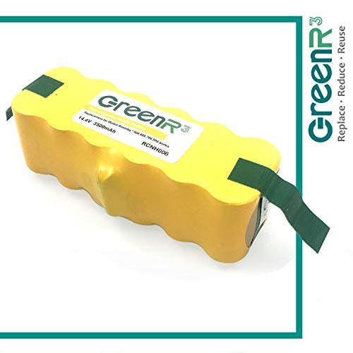 GreenR3 Ni-Mh 3500mAh 3.5Ah Battery for iRobot Roomba 80501 fit Scooba 450 500 600 AeroVac Series 510 520 530 531 532 535 536 540 550 551 560 570 580 595 614 620 630 650 655 660 680 690 1-Pack