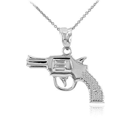 Collier Femme Pendentif Solide 14 Ct Or Blanc Revolver Pistolet Canon (Livré avec une 45cm Chaîne)