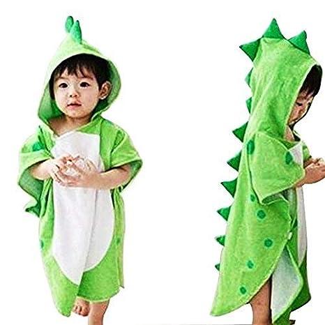 OAMORE, Toalla de bebé transpirable, Albornoces de dibujos animados infantiles, Toallas de baño de toalla con capucha dinosaurios poligonales, ...