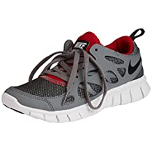nike free run 2 (GS) running trainers 443742 sneakers shoes (uk 5 us 5.5Y eu 38, wolf grey black gym red white 035)