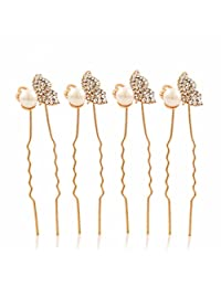 4pcs Wedding Bridal Prom Diamante and White Faux Pearl Flower Hair Pins