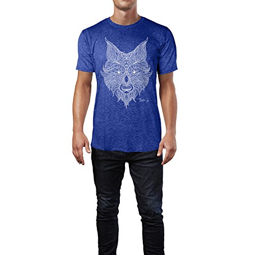 SINUS ART ® Handgezeichneter Fuchskopf im Ethno Stil – hell Herren T-Shirts in Vintage Blau Cooles Fun Shirt mit tollen Aufdruck