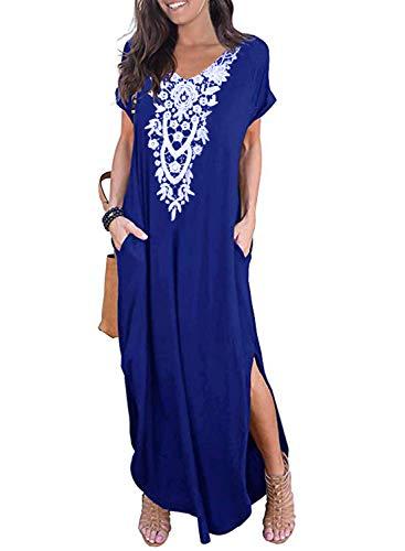 CANIKAT Women's V Neck Short Sleeve Crochet Embroidered Pocket Long Dress Basic Casual Loose Split Maxi Dresses Blue L
