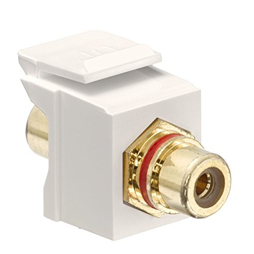 Leviton 40830-BTR QuickPort RCA, Gold-Plated Connector with Red Stripe, Light Almond ()