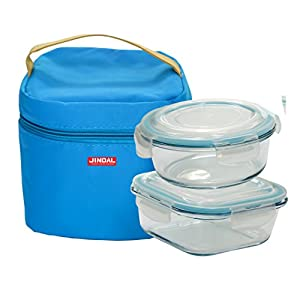 Jindal Microwavable Round Containers 650Ml & Square Container 800Ml Set Of 2 With Lunch Bag