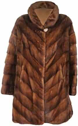 dc51c07855a8f New Women's Natural Lunaraine Mink Fur Diagonal Stroller Coat 12 Medium  Brown