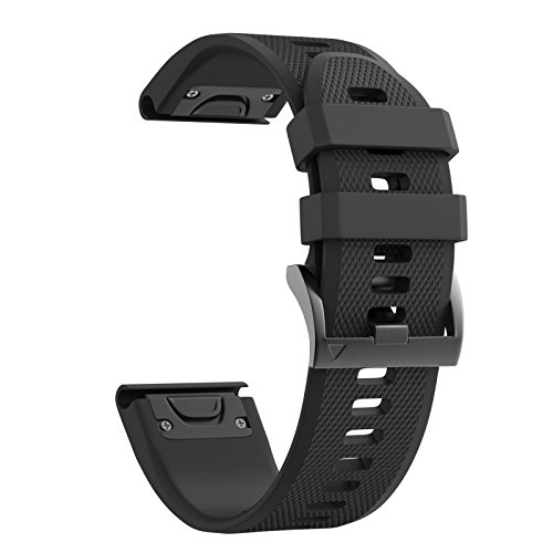 Cheap ANCOOL Compatible Garmin Fenix 5 Band Easy Fit 22mm Width Soft Silicone Watch Strap Compatible Garmin Fenix 5/Fenix 5 Plus/Forerunner 935/Approach S60/Quatix 5 – Black