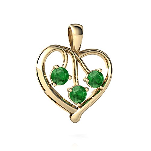 14kt Yellow Gold Emerald 3.5mm Round Glowing Heart Pendant