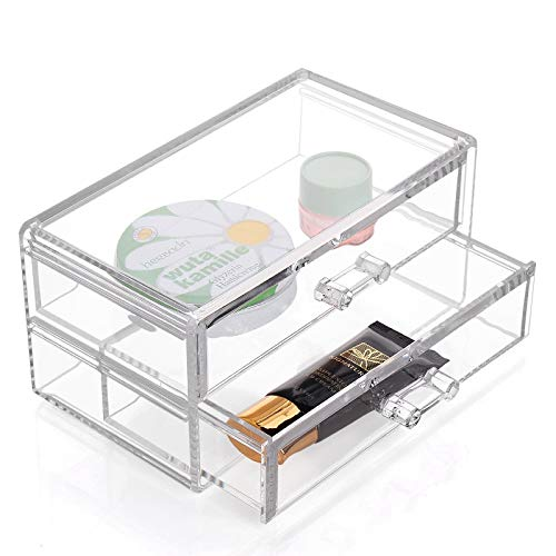 LVV Home Acrylic Desktop Cosmetic Storage Box/Three Layers Drawer Style Silicone Anti-Skid pad Transparent osmetic case by Hotin (Image #5)