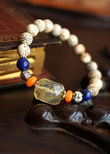 New year blessing Moon and stars Bodhi bracelet tea crystals with Brazil lapis lazuli vintage ()