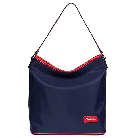 BOSTANTEN Waterproof Tote Handbags Shoulder Bags for Women Blue with Red