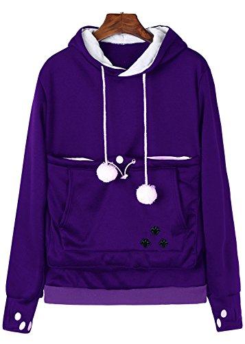 - Anbech Unisex Big Kangaroo Pouch Loose Fleece Hoodie Long Sleeve Pullover Little Pet Cat Dog Holder Carrier Sweatshirts (Purple-Fleece, 2XL)