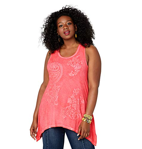 Avenue Women's Paisley Embroidered Sharkbite Hem Tank Top, 22/24 Cayenne
