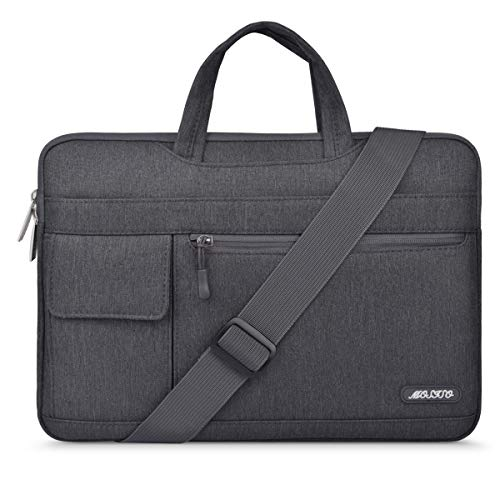 MOSISO Laptop Shoulder Bag Compatible 13-13.3 Inch MacBook Pro, MacBook Air, Notebook Computer, Protective Polyester Flapover Messenger Briefcase Carrying Handbag Sleeve Case Cover, Space Gray