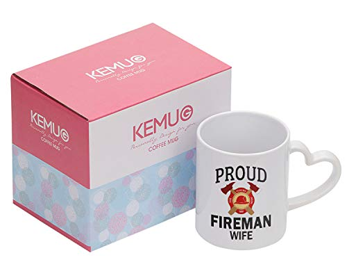 (Kemug - Proud Fireman Wife Mug, 11 oz Ceramic White Coffee Mugs, Funny Firefighter Present, Wonderful Fire Fighter Gifts For Wife, Novelty Tea Cup For Fireman Wife)